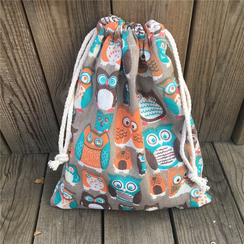 YILE 1pc Cotton Drawstring Pouch Party Gift Bag Print Colorful Owls Khaki Base YL81029c