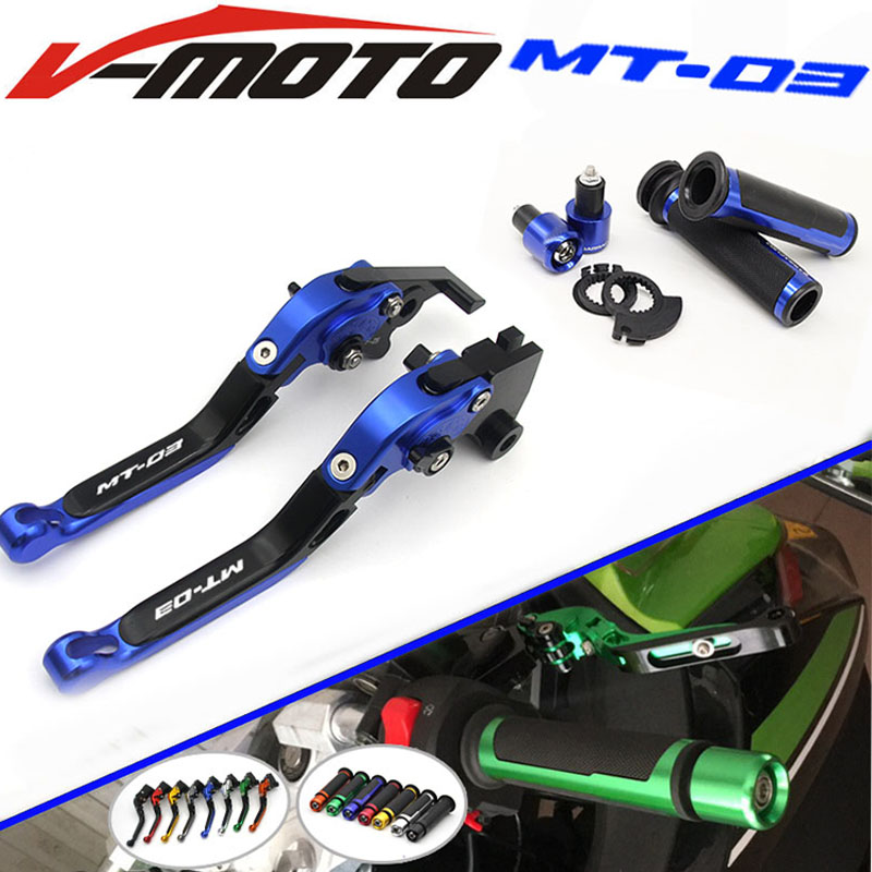 For YAMAHA MT-03 2015-2016 CNC Folding Brake Clutch Levers Handlebar Hand Grips 1 Set