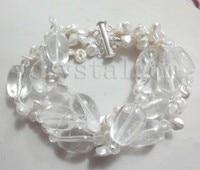 White Reborn Keshi Pearls Clear Crystal Bracelet Silver
