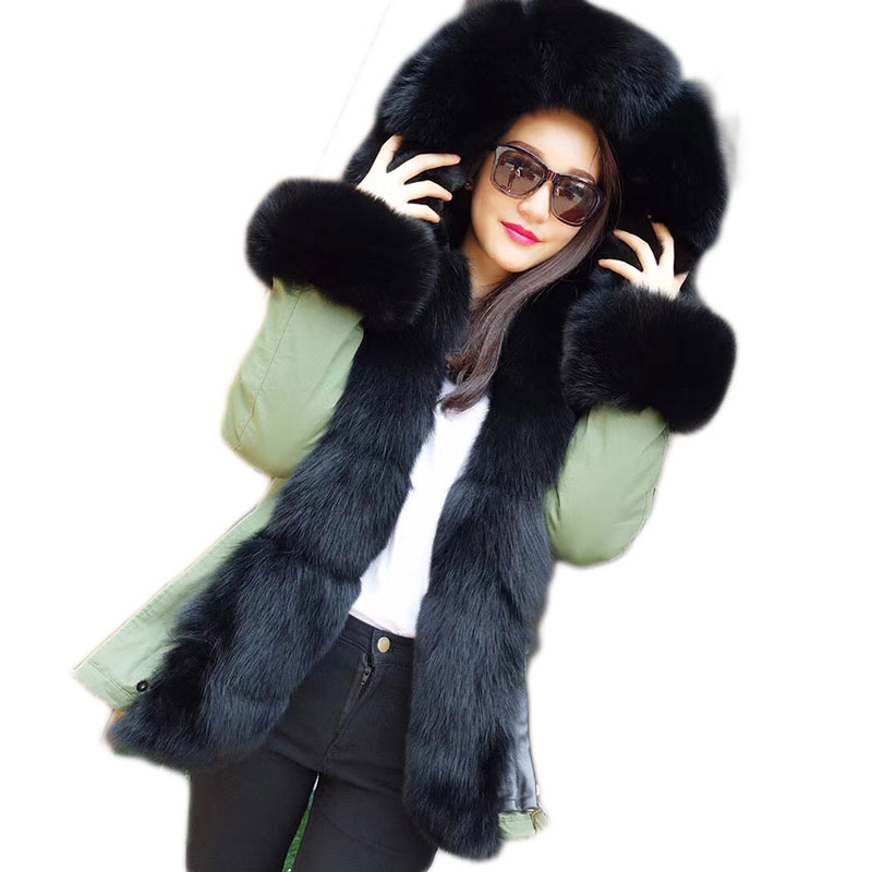 Warm Loose Short Parkas With Genuine Rex Rabbit Fur Lining Women Winter Real Fox Fur Hood Collar Coat Woman Parka Female Ladies 2017 winter new clothes to overcome the coat of women in the long reed rabbit hair fur fur coat fox raccoon fur collar