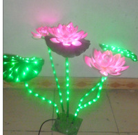 80CM LED Lotus Light 3 Pink Lotus+2 Green Leaf Indoor Home Holiday Wedding Deco