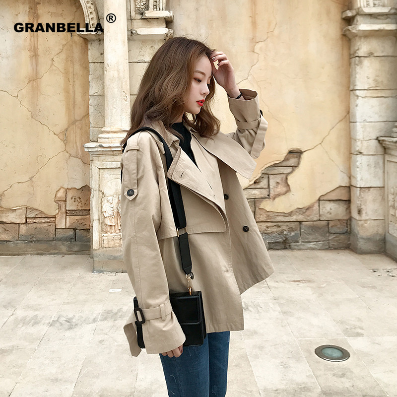 Plus size women's casual khaki short   trench   coat British style fashion double breasted spring windbreaker female loose outwear