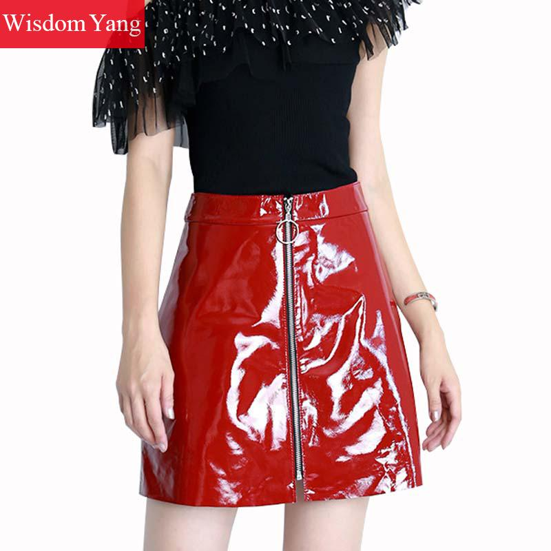 bf499522d0 Black Red Real Sheep Skin Genuine Patent Leather Skirt High Waisted Mini  Skirts for Women 2018 Summer Party Sexy Ladies Sundress