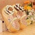 Sapatos meninas Flor Princesa Crianças Sapatos Meninas Sola Macia Tênis sapatas Dos Miúdos Marca Florais meninas Sapato de Couro branco preto