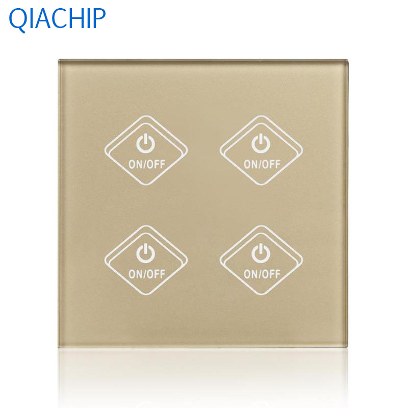 UK Plug Gold Touch Switch 4 Gang Light Wall Switch APP Remote Control Smart Timing Switch Luxury Crystal Tempered Glass Panel us 1gang hotel tempered glass panel smart house wall light switch remote control switch touch control light switch led indicator