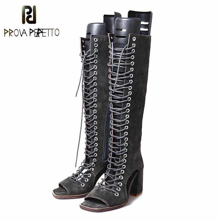 Prova Perfetto Suede Leather Sandals Boots Women Breathable Hollow Out Cross Tied Sexy Knee Boot Square High Heel Summer Shoes rousmery sexy white metal buckle strap cross tied hollow out chunky heel women gladiator sandals summer knee high boots women