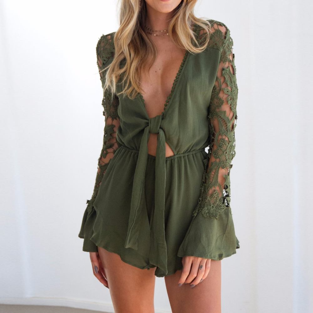 Deep V Neck Patchwork Lace Chiffon Playsuits Full Flare Sleeved Hollow Out Sashes Loose Jumpsuits Rompers Army Green Black Red