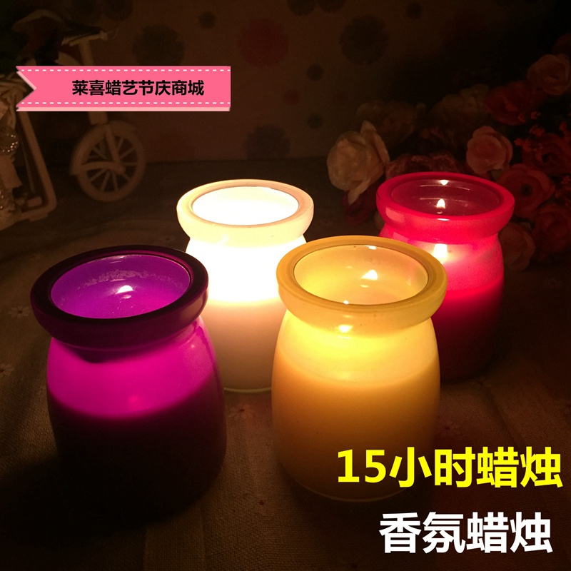 15 Hours Scented Candle Essential Oil Relieve Stress Pudding Cup Romantic Wedding Birthday Smell Remover Glass