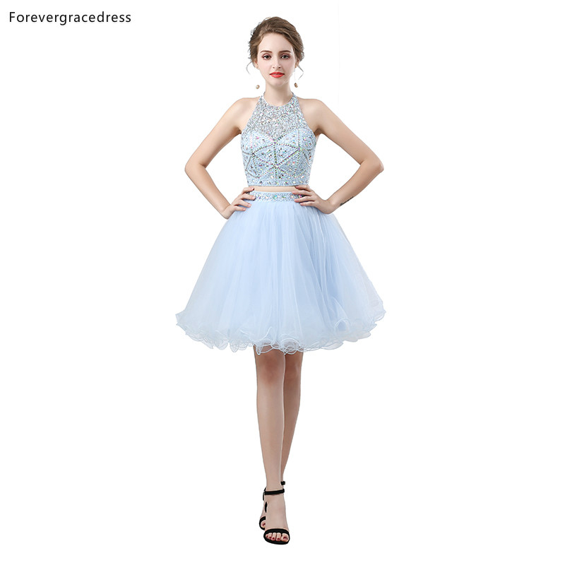 Forevergracedress Light Sky Blue Fit Short   Cocktail     Dresses   A Line Tulle Sleeveless Girls Party Gowns Plus Size Custom Made