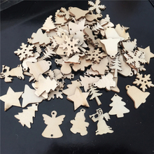 50Pcs/Lot Natural Wood Christmas Ornaments Reindeer Tree Snowflakes Bell Santa Star Decorations For Home 2018 Navidad