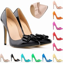 Fluorescent green yellow orange pink blue plus max size 40 41 42 womens sexy wedding party shoes bowknot bow tie pumps high heel