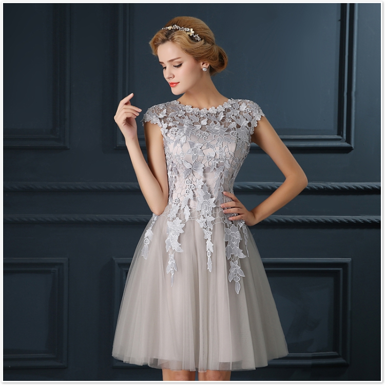 Robe De Soiree 2017 gery u collar Lace Up short evening dress abendkleider vestito da sera prom dresses party dresses 4 colors 14