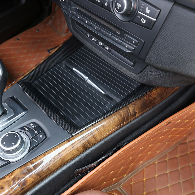 Carbon Fiber Style ABS <font><b>Interior</b></font> Mouldings Car Center Console Frame Decoration Cup Holder Strip <font><b>Trim</b></font> For <font><b>BMW</b></font> X5 <font><b>E70</b></font> 2008-2013 image