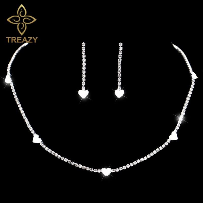 Liberal Treazy Elegante Kristall Brautschmuck Sets Silber Farbe Herz Halskette Ohrringe Schmuck Sets Für Frauen Hochzeit Zubehör Brautschmuck Sets