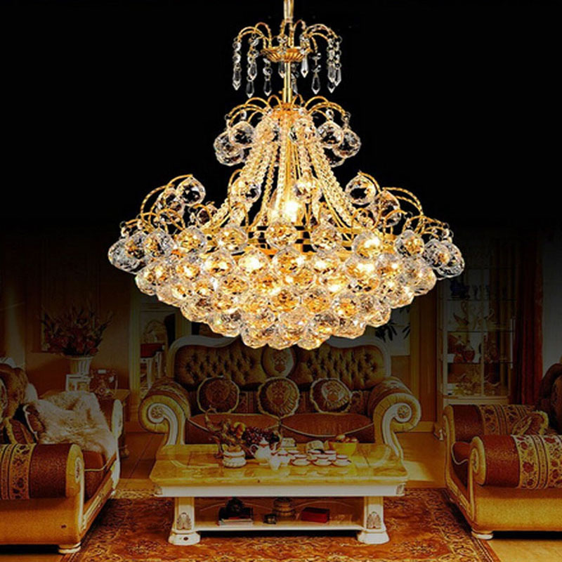 European Luxury Crystal Chandeliers Restaurant Lights Modern Minimalist Living Room Bedroom LED Crystal Lamp Lighting fixture modern crystal chandelier led hanging lighting european style glass chandeliers light for living dining room restaurant decor