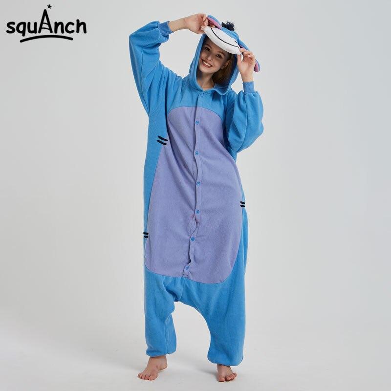 100% Kwaliteit Blauwe Ezel Kigurumi Animal Onesie Cartoon Karakter Eeyore Pyjama Vrouwen Mannen Volwassen Paar Jumpsuit Winter Grappige Slaap Pak Fancy Vloeiende Circulatie En Pijn Stoppen