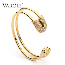 VAROLE Unique Paper Clip Gold Color Cuff Bracelet Shining Cr