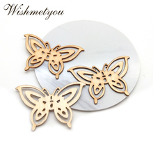 WISHMETYOU 20Pcs Large Butterfly Wood Slices Diy Embellishments Party Crafts Painting Tags Finding Making Accessories Beads