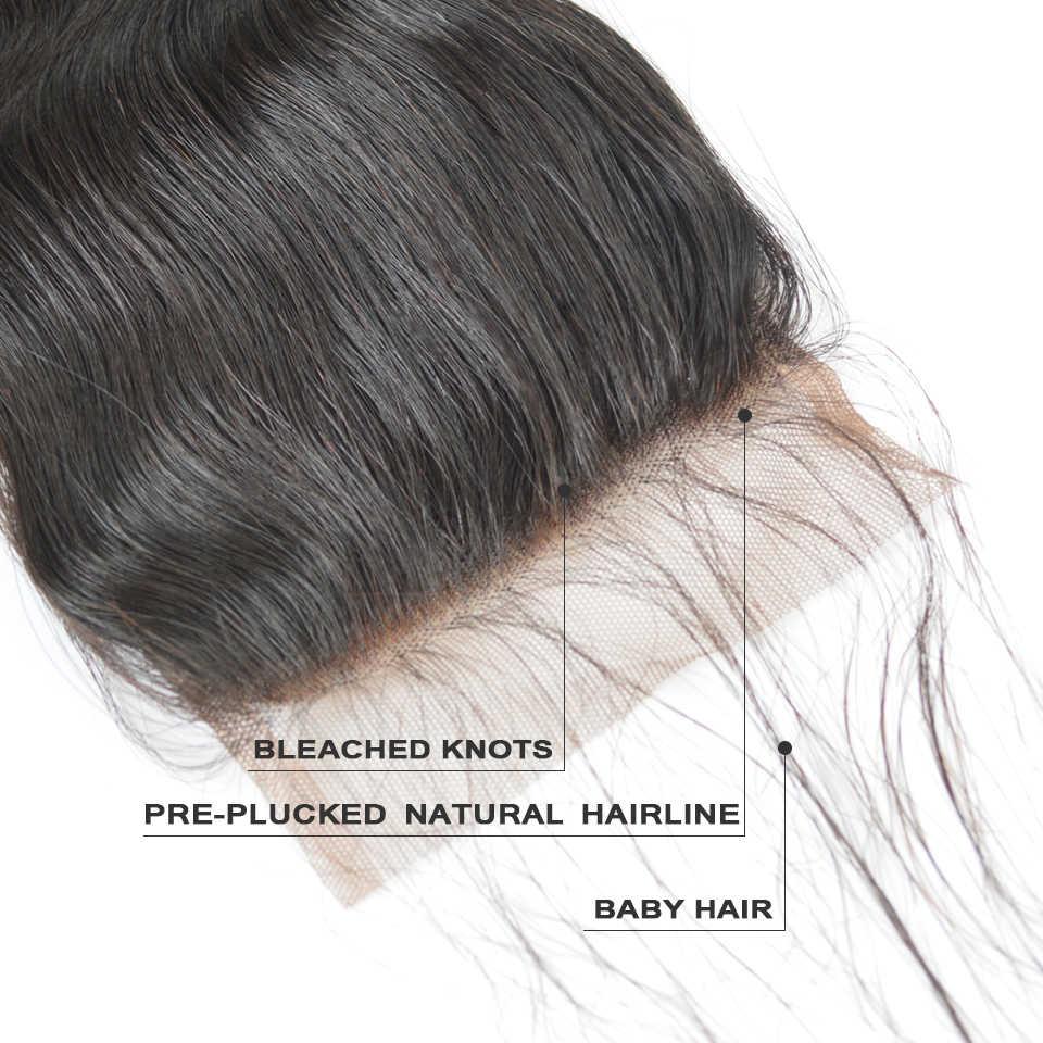 BAISI волосы бразильские Волнистые Кружева Закрытие 4x4 парик из волос Реми свободная часть средняя часть свободная часть