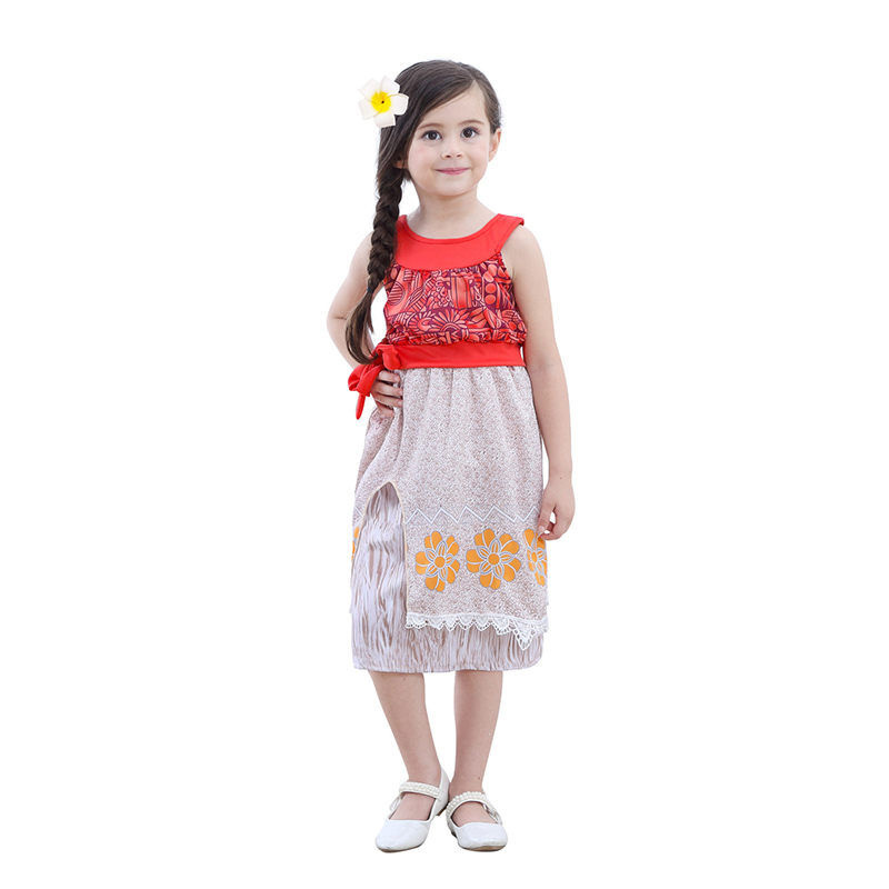 Moana Princess Cosplay Costume For Children Dress Summer Beach Dress Kids Halloween Cosplay Dresses Clothing with Necklace cosplay
