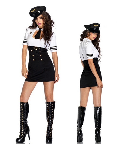 Newest Sexy Halloween Suits Stewardess Role Play Cosplay Costume Temptation Flight Attendant Dress Uniform Air Hostess Outfit