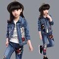 Новый 2016 Девушки Джинсы Устанавливает Джинсовые Детская Одежда С Длинным Рукавом Девушки Джинсовой Одежды Устанавливает Модная Одежда Наборы для Девочек