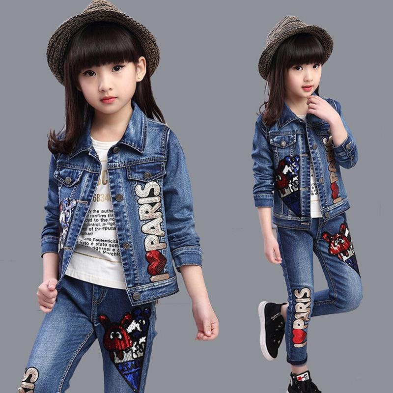 New 2016 Girls Jeans Sets Denim Children Clothes Long Sleeve Girls Jeans Clothes Sets Fashion Clothing Sets for Girls men s cowboy jeans fashion blue jeans pant men plus sizes regular slim fit denim jean pants male high quality brand jeans