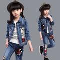 New 2016 Girls Jeans Sets Denim Children Clothes Long Sleeve Girls Jeans Clothes Sets Fashion Clothing Sets for Girls