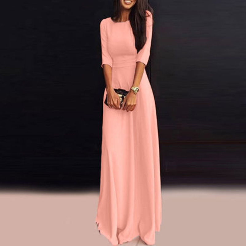 Maxi Dress Womens Long Chiffon 3/4 Sleeve Evening Formal Party Gown Dresses 2018