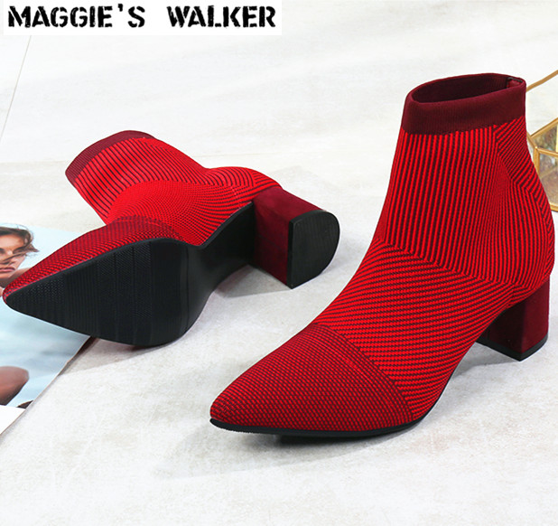 Women Maggie's Size Fashion Boots Walker Pointed 35 Shoes on Fashion 40 Ankle Fabric Boots Casual toe Slip Knitted Stretch r5Hranq