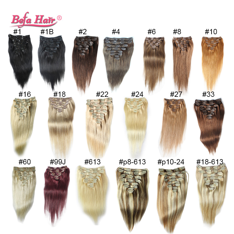 high grade 6A 16-24in 120g Clip in Hair Extensions human Clip In straight hair Extension Straight Hair no tangle,no shedding