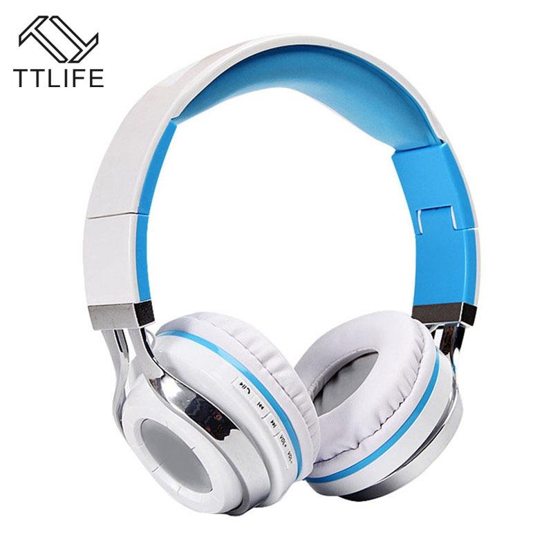 TTLIFE Brand Portable Headband Headphone Fashionable Wireless+Wired Bluetooth V4.1 Headphones with Microphone for Video Game portable bluetooth v3 0 wireless headband headphone orange white