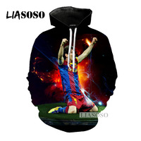 LIASOSO 2018 Latest Fashion Player Messi Hooded Men And Women Hooded 3D Color Printing Hoodie Fashion