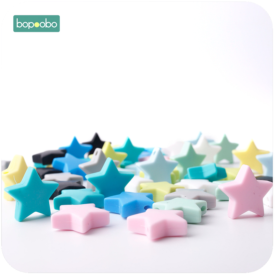 Bopoobo 30PC 23mm Silicone Beads Teether Toy Colorful Silicone Star BPA Free Silicone Teether Baby Teething Nursing Accessories