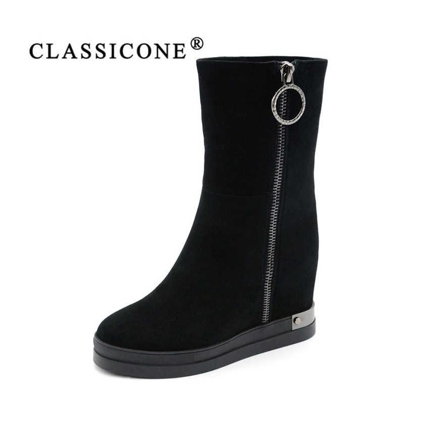 5682576330b2a3 CLASSICONE зимние женские ботинки сапоги натуральная кожа Натуральный мех  сплошная платформа замок снаружи серая бордовая черная