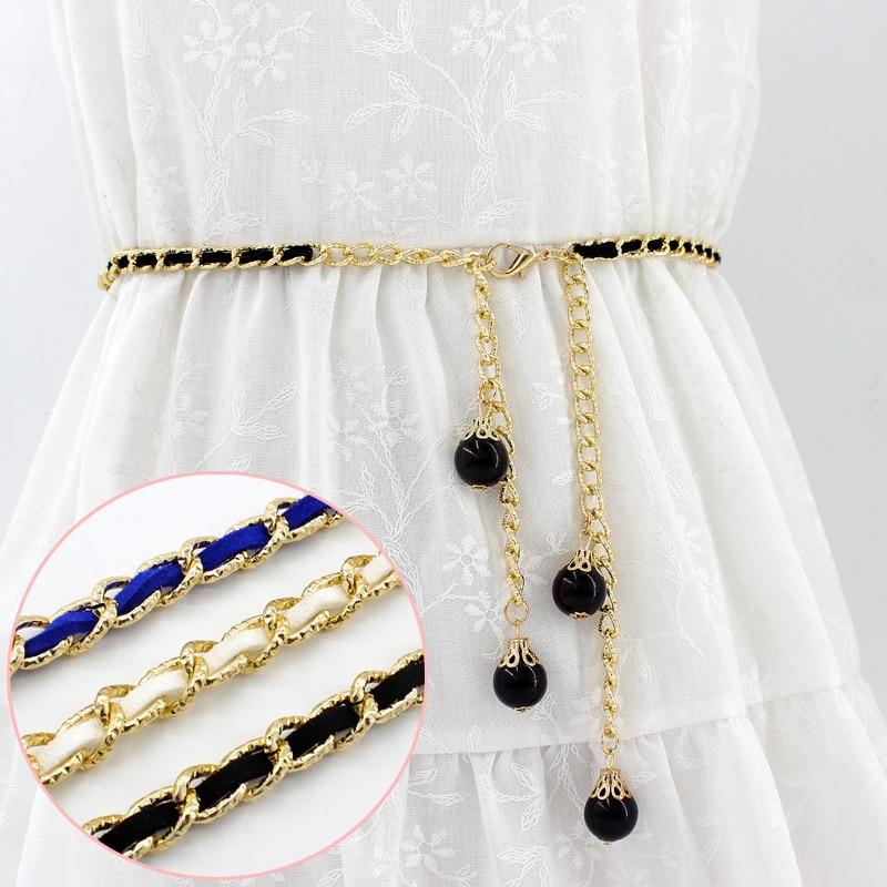 2017 Heißer Verkauf Neue Mode Metall Perle Kette Für Kleid Süß Candy Farbe Elegante Damen Jugend Mädchen Cinturones Mujer Supplement Die Vitalenergie Und NäHren Yin