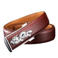 Men S 100 Cowhide Belt Dragon Pattern Crocodile Grain Belt Luxury Alloy Business Men Belt