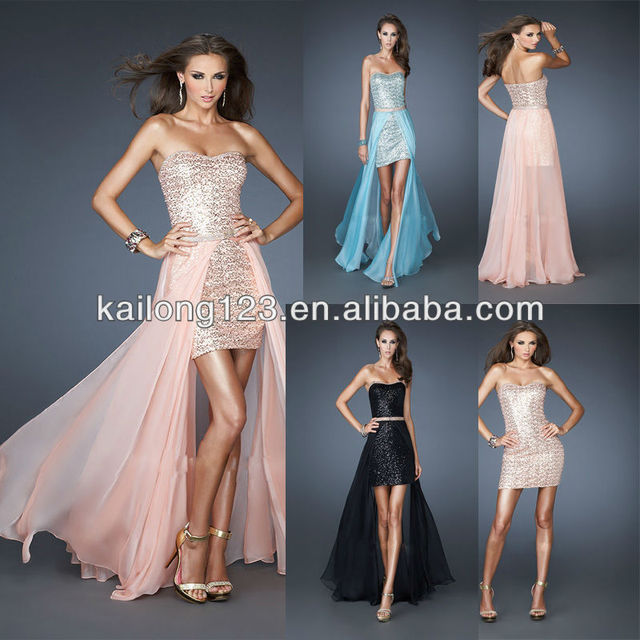 9bbae47c15d Gorgeous Strapless Short Sequin Gown Rhinestone Trim Apricot White Aqua  Black Chiffon Detachable Skirt Prom Dresses