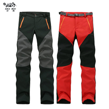 Camping Hiking Winter Outdoor Sport Soft shell Pants Warm Waterproof Fleece Windproof Fishing Men Mountain Climbing pantalones недорго, оригинальная цена