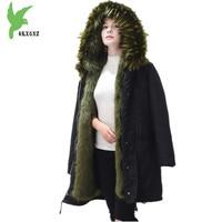 Women Winter Jacket Coats Faux Fox Fur Parker Coats Boutique Fashion Camouflage Jacket Plus size Women Parker Jackets OKXGNZ1105
