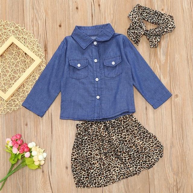 b7c0178eab2a Toddler Baby Girls Clothing 3PCS Set Cute oddler Kids Denim Tops+Leopard  Culotte Skirt Outfits Children Girl Clothing Set