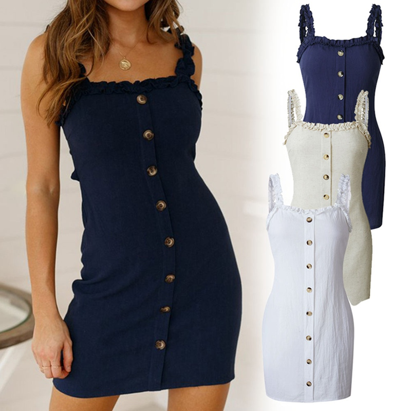 2019 Backless Casual Mini Dress Single-breasted Lace Up Beach Strap Wrap Dress Ruffles Women Sexy Summer Dress