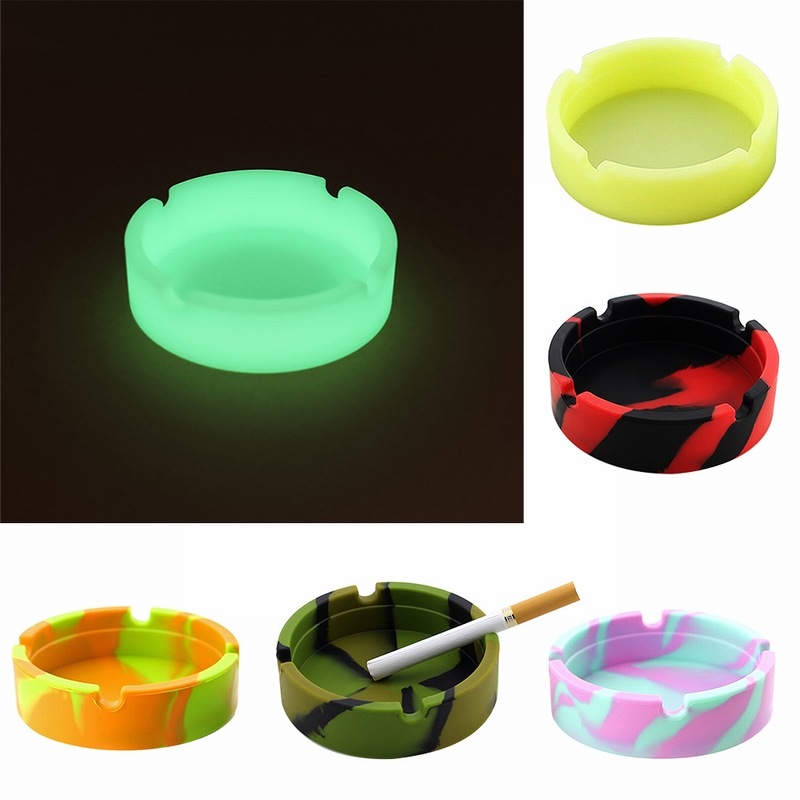 Silicone Soft Round Ashtray Ash Tray Holder PLuminous Portable Anti scalding Cigarette Holder Multicolor Eco Friendly-in Ashtrays from Home & Garden