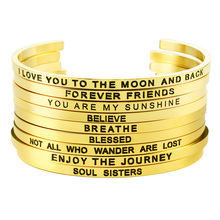 Mantra bangle bracelet gold sisters cuff band custom personalized engraved stainless steel inspirational bracelets