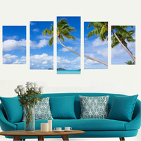 Beautiful Poster Picture Coconut Palm Sunshine Beach Spray Painting on Fabric Cloth High Definition Canvas Printings for Bedroom