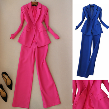 Suit women new fashion one button suit pants two-piece slim long-sleeved small straight wide-leg