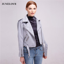 JuneLove 2019 autumn winter coat jacket women zipper turn-down collar faux leather suede jacket coat sashes outwears(China)
