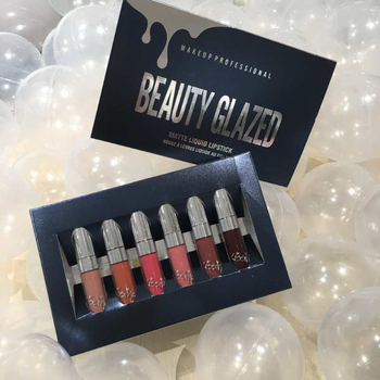 Beauty Glazed 6pcs Matte Velvety Liquid Lipstick Matte Liquid Lipgloss Waterproof Lip Gloss 1