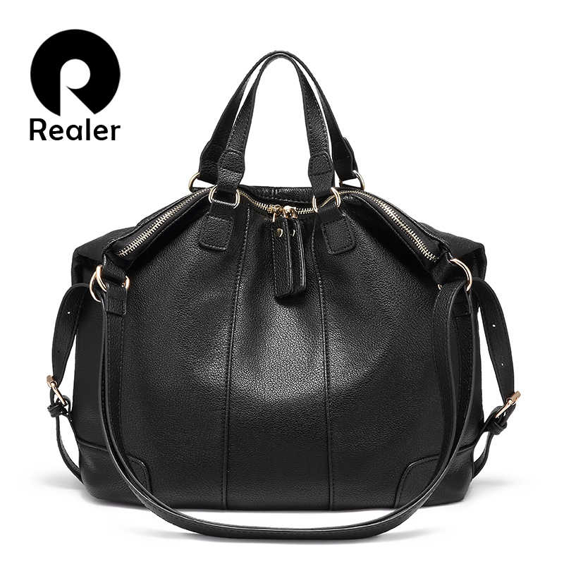 86f0578b715e Realer shoulder bag women multifunctional handbag designer ladies messenger  bag fashion soft artificial leather tote bag