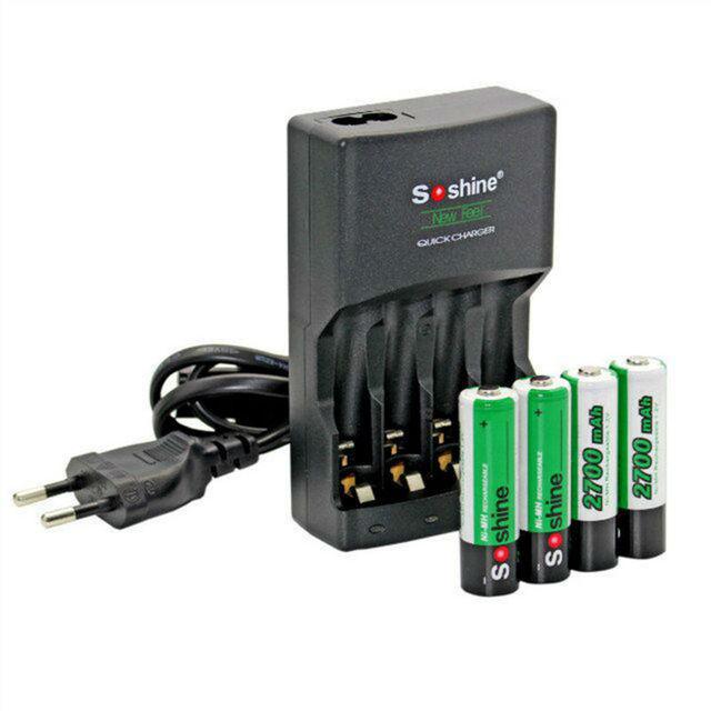 Soshine carregador de bateria para aa/aaa bateria recarregável 4-slot carregadores de alta qualidade